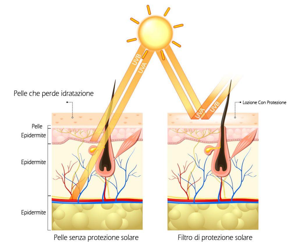 schemda pelle in caso di utilizzo di protezione solare